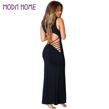 Sexy Women Maxi Dress Club Wear Hollow Out Backless Sleeveless Bodycon Solid Evening Party Clubwear Vest Long Dress Vestidos