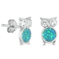 .925 Sterling Silver Owl Blue Opal Ladies and Kids Stud Earrings