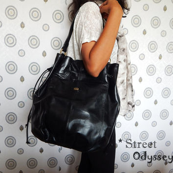 Black Leather Bucket Bag, Leather Handbag, Women's Leather Bag, Shoulder Bag, Leather Purse, Leather iPad Bag, Leather Drawstring Bag