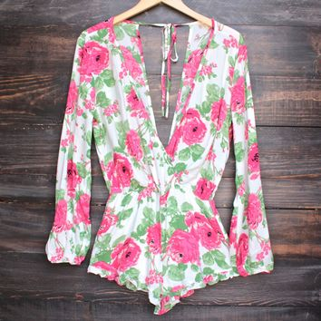 floral about you romper - white