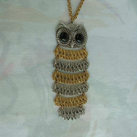 Goldette Owl Necklace 6 Inches Long Black Cab Eyes Vintage Animal Bird Jewelry