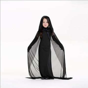 Yuerlian Girl Witch Dress Cloak Children's Day Costumes Kids Children Role Play Carnival Halloween Cosplay Game Stage Uniform