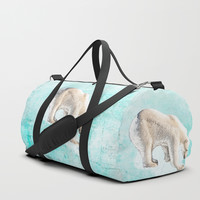 Polar bear on thin ice Duffle Bag by anipani