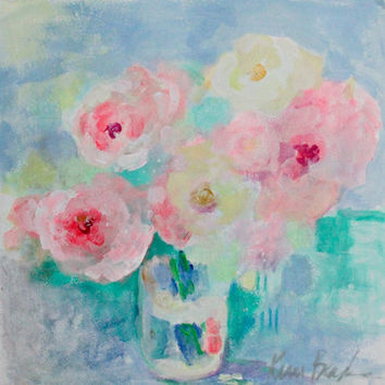 "Light Pretty Abstract Floral on Paper, Loose Modern ""Roses in a Vase"" 12x12"""