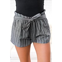 Because You Can Striped Shorts (Black)
