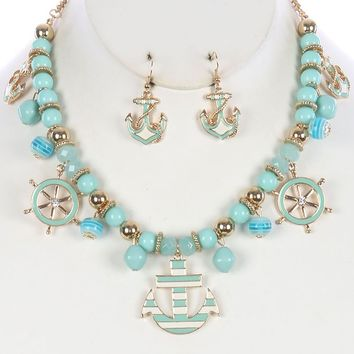 Nautical Charm Bib Anchor Shipwheel Glass Bead Necklace Earring Set