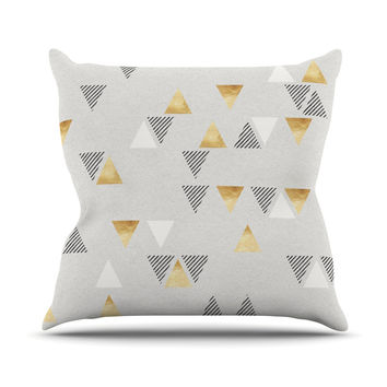"Nick Atkinson ""Triangle Love"" Gray Gold Outdoor Throw Pillow"