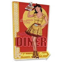 Retro-a-go-go! Bettie Page TM Bettie's Diner Metal Sign