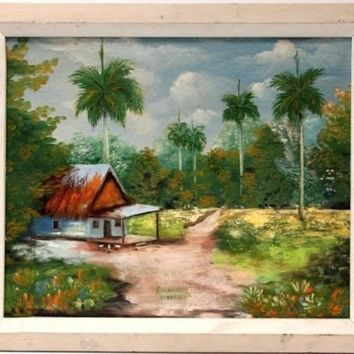 R. Martinez Cuban Landscape Painting Oil on Canvas Original Artwork Signed Dated