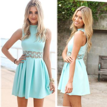Mint Green Sleeveless Lace Dress