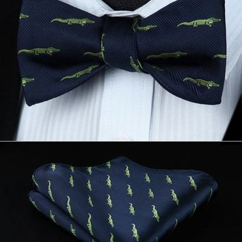 Navy Blue Alligator Silk Self Bow Tie Pocket Square