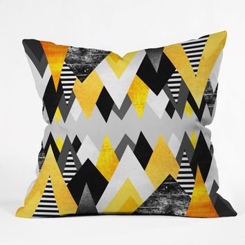 Elisabeth Fredriksson Yellow Peaks Throw Pillow