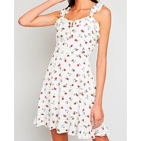 one look - floral ruffle mini dress in off white