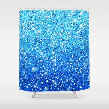 Blue Glitters Sparkles Texture Shower Curtain by Tees2go