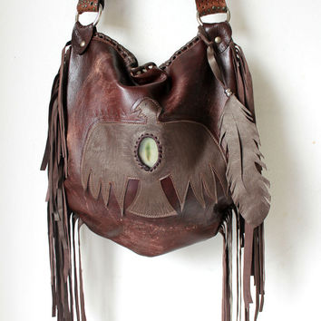 Distressed  leather fringed tribal aztec eagle bag collection navajo purse southwestern native indians motorcycle boho festival raw fringe
