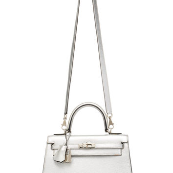 Hermès 25cm Metallic Silver Chevre Leather Limited Edition Sellier Kelly | Moda Operandi