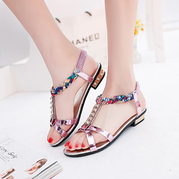 [Special Price] 2016 Women's Summer sandals flat-on Bohemia Open-toed sandals sweet female students  Crystal Rope sandals Lx160