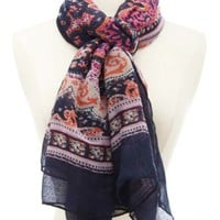 Navy Combo Paisley Print Scarf by Charlotte Russe
