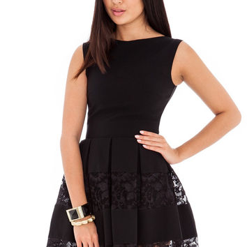 Black Sleeveless Lace Sheath Mini Skater Dress