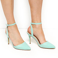 Mint Green Comfort Ankle Strap Pointed Heels