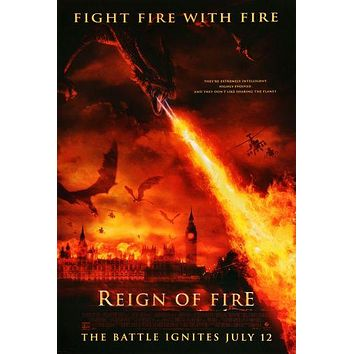Reign Of Fire Movie poster Metal Sign Wall Art 8inx12in