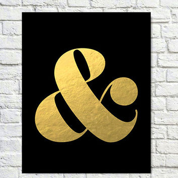Typography Print, Quote Print, Ampersand, Gold Pink, Modern Decor, Office Decor, Wall Decor - Black& (8x8)