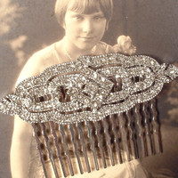 Art Deco Bridal Hair Comb, Clear Pave Rhinestone Silver Great Gatsby Brooch to Unique Bridal HairComb Downton Abbey Vintage 1920s Style