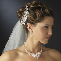 Crystal Wedding Hair Comb with Matching Jewelry Set