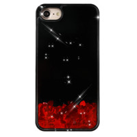 Red Hearts Glitter Black iPhone Case