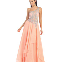 Preorder -  Peach Sheer Lace Bodice Gown 2015 Prom Dresses