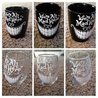 Cheshire Cat Coffee Mug, Cute Coffee Mug, We're All Mad Here Coffee Mug, Alice In Wonderland Inspired