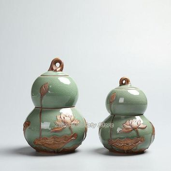 DCCKFS2 Gourd Ruyao Celadon Cracked Glaze Spice Jar Dried fruit Jar tea Canister ceramic Porcelain candy jar sealed tank tea caddy