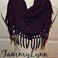 NEW!!  Eggplant Purple Chenille Tassel Infinity Scarf Sweater Style Winter Womens Accessories