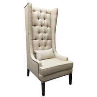 Custom Tufted Linen Wingback Arm Chair