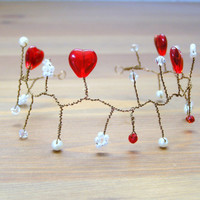 Sweetheart Hair Vine, Red Hearts, Valentine Hair Vine, Red Heart Crown, Tiara, Heart Crown