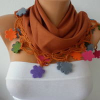 ON SALE - Light Brown Scarf   Pashmina  Scarf   Cowl with Lace Felt Colorful Flower Edge