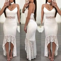 Women Temperament Fashion Deep V-Neck Halter Backless Sleeveless Strap Perspective Lace Frills Irregular Dress
