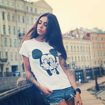 Mickey Mouse Fuck You Women's Casual T-Shirt