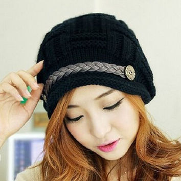 BabeMall Cute Fashion Autumn Winter Warm Earflap Knitted Hat Curling Braid Button Design Wool Hat Cap - Black