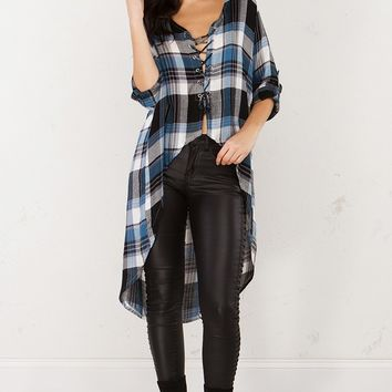 High Low Plaid Top in Teal