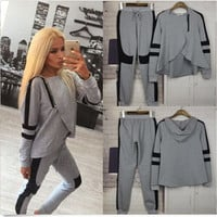 YONO New Fashion Women Tracksuits Hoodie Set Brand Joggers Harajuku Sweatshirt Pants Zipper Moletom Sports Wear Suits 2 piece