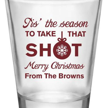 Personalized Christmas party shot glasses