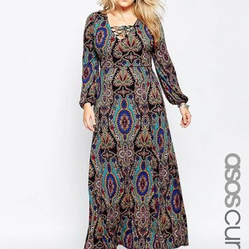 ASOS CURVE 70's Plunge Maxi Dress in Print with Lace Up Detail at asos.com