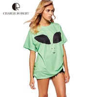 Alien T Shirt Femme Funny Smile Printed 2016 Summer New Women T-Shirts Fashion Casual Tees Long Style Brand Clothing