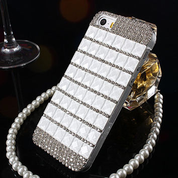 Fashion White Crystal Bling iPhone case, iPhone 5s case, iPhone 6 case, Samsung Note 3 4 Case, Samsung Galaxy S4 S5 case
