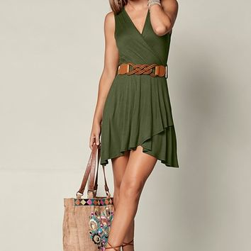 Mini Dress With Belt in Olive | VENUS