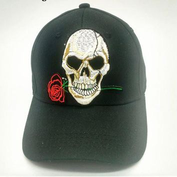 Rose skull Adjustable Baseball cap snapback