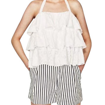 White Halter Ruffle Layered Backless Blouse