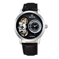 Zlyc Men's Novelty Design Round Dial Leather Strap Automatic Mechanical Wrist Watch