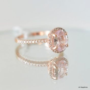 untreated peach sapphire engagement ring